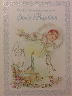 Greetings of Faith - God's blessings on your son's baptism - Greeting Card