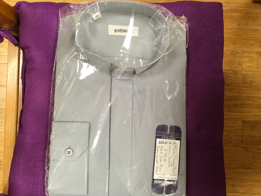 Clergy Shirt (Long sleeve, grey, size 41, neck size 16.5) - Polanex