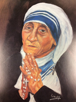 Mother Teresa Praying the Rosary painted - larger print