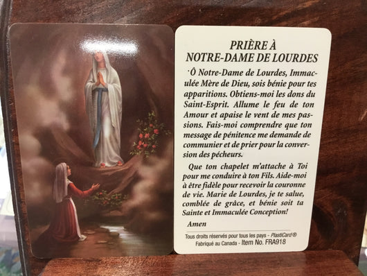Prayer Card (French) - Priere a Notre Dame de Lourdes