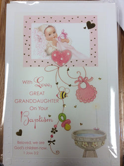 Greetings of Faith - With Love Great Granddaughter on Your Baptism - Greeting Card