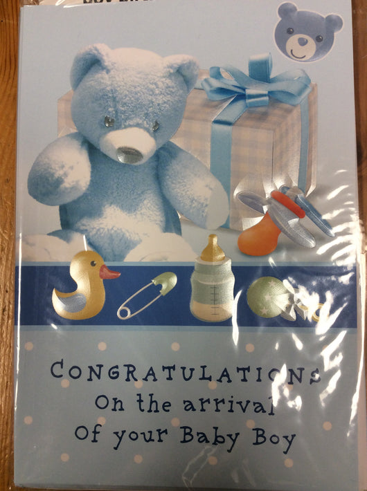 Greetings of Faith - Congratulations on the Arrival of Your Baby Boy - Greeting Card
