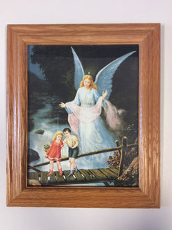 Guardian Angel Watching over Children on a Bridge - framed print
