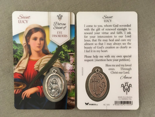 Saint Lucy Patron Saint of Eye Disorders Prayer Card with Medal