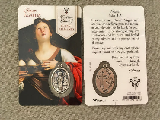 Saint Agatha Patron Saint of Breast Ailments Prayer Card with Medal