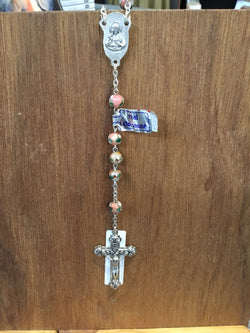 Real Cloisonne Pink Flowers Rosary