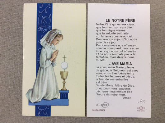 1st Communion Girl French Cardboard Prayer Card