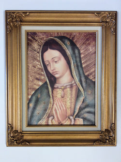 Our Lady of Guadalupe detail - framed gold-embellished print