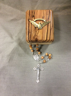 Confirmation Olivewood Rosary in Olivewood Box