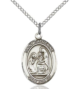 BLISS - St. Catherine of Sienna Sterling Silver Medal and Chain.  Saint of fire prevention