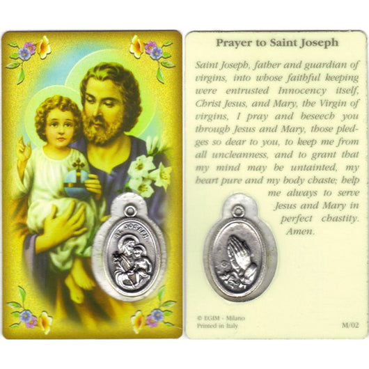 St. Joseph Prayer to  Embedded Medal