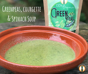 Greenpeas, courgette and spinach soup