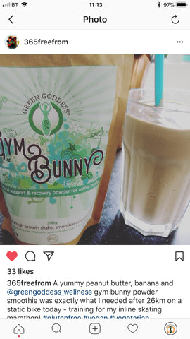 Gym bunny protein powder smoothie on instagram