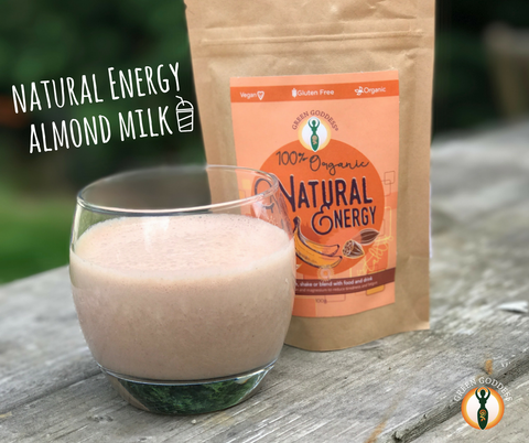 Natural Energy with almond milk smoothie