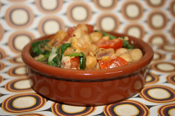 Spicy Chick Pea & Spinach Pot