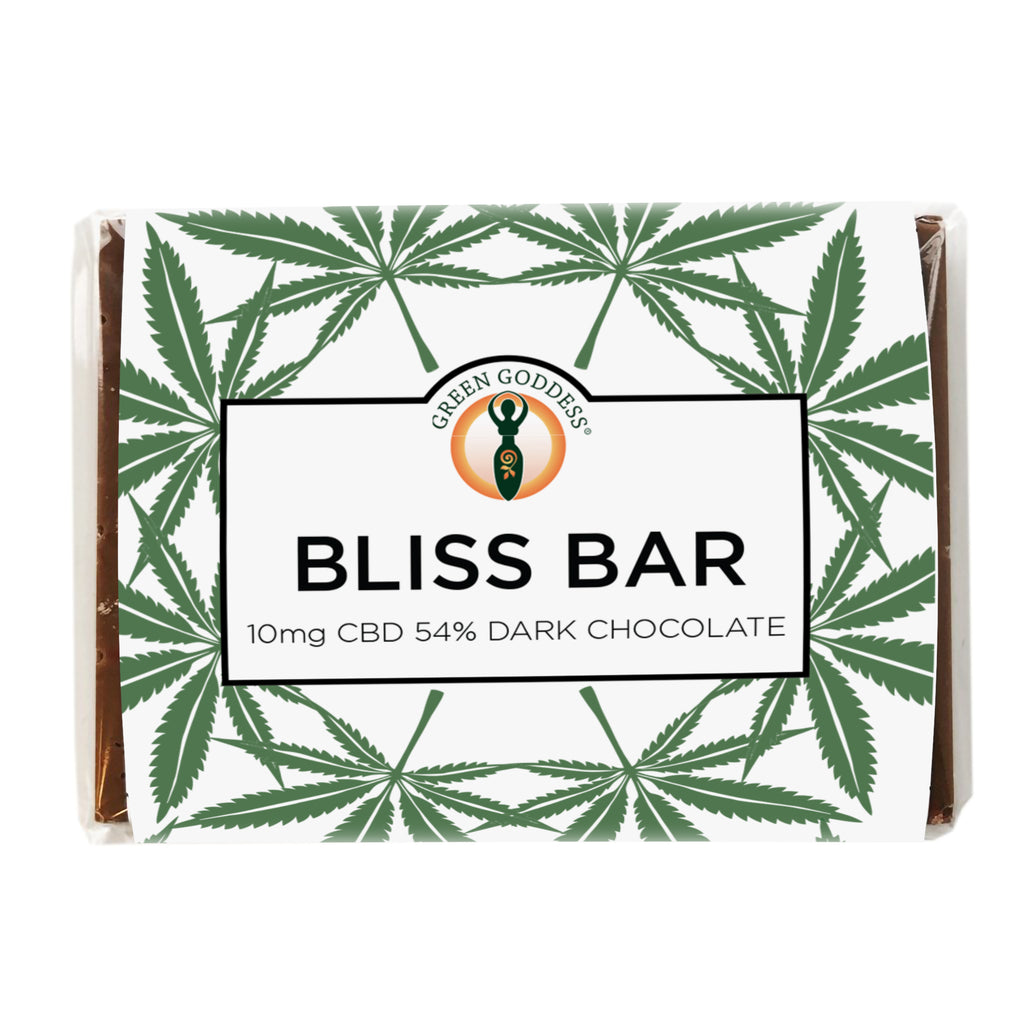 Green Goddess Bliss Bar 10mg CBD 54% Dark Chocolate - Green Goddess