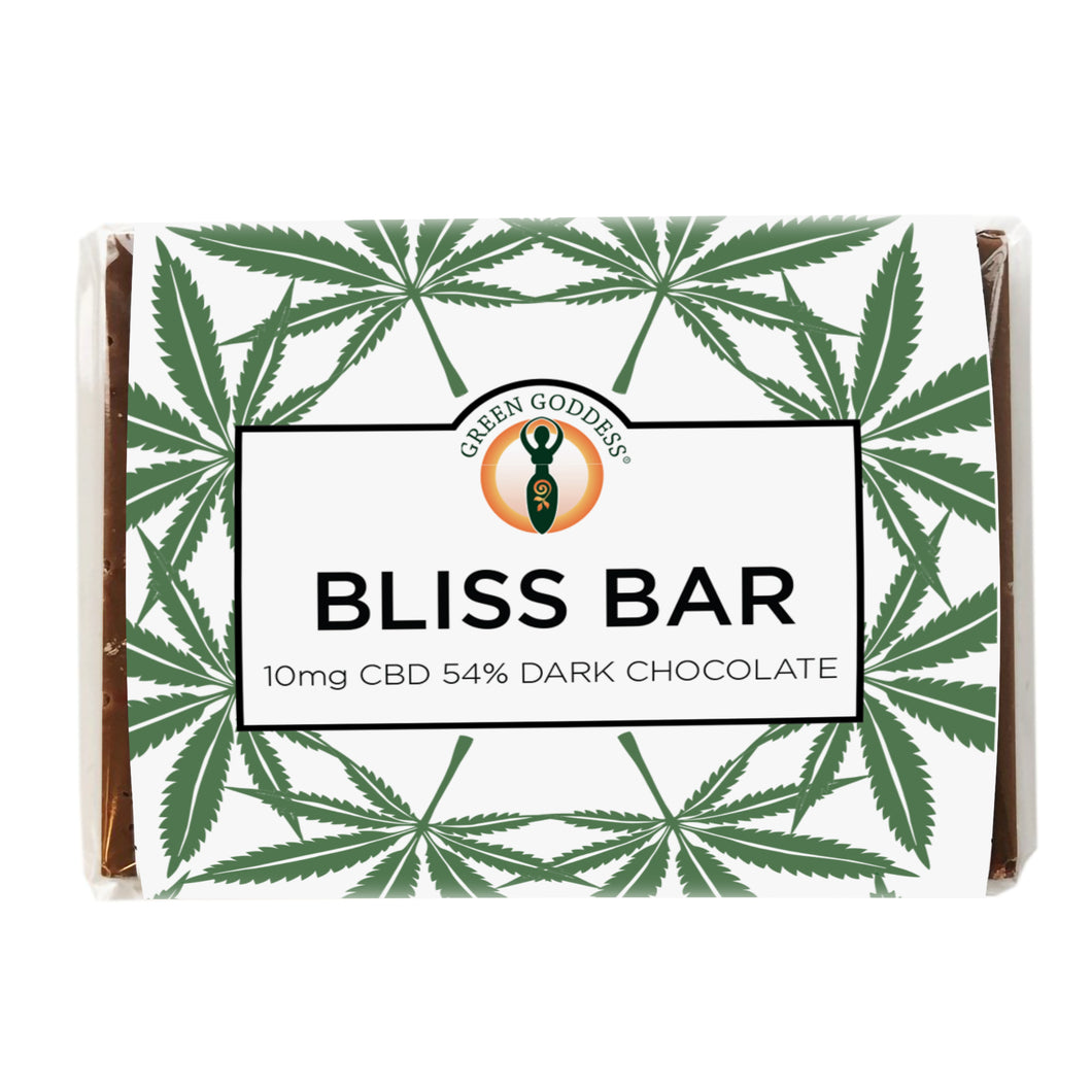 Green Goddess CBD Bliss Bar Vegan friendly 54% dark chocolate