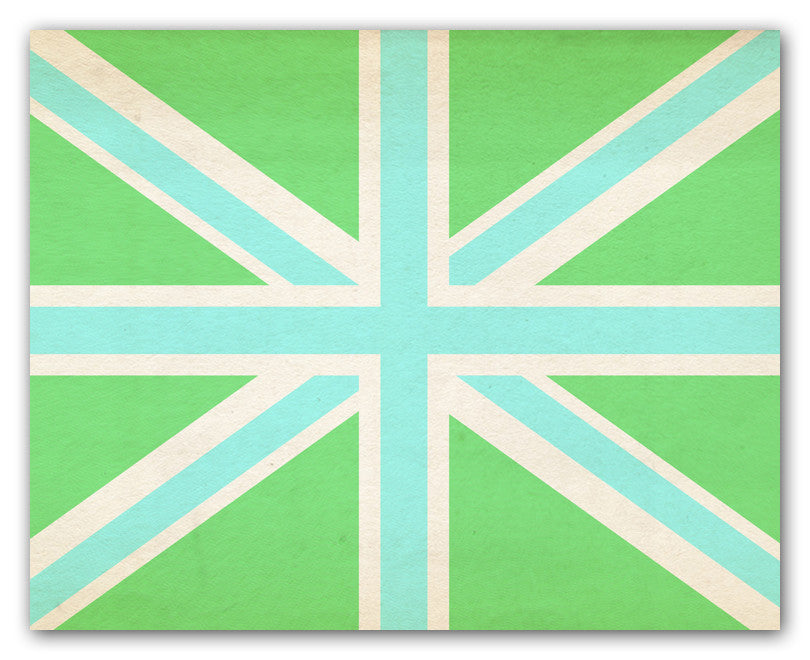 Union Jack Wall Art Print - Aqua And Lime