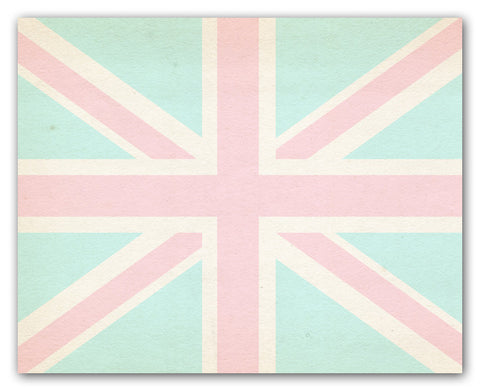 Union Jack Wall Art Print - Aqua And Pink