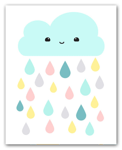Kawaii Aqua Cloud And Colorful Raindrops Print