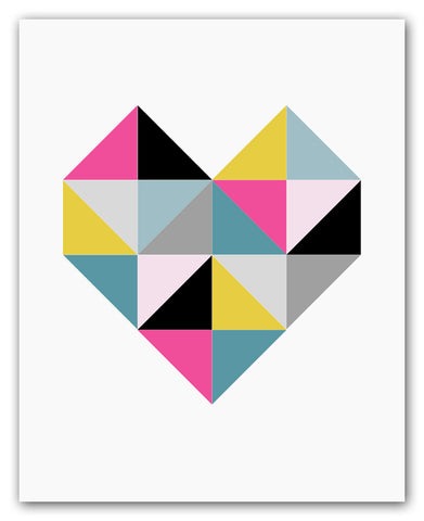 Geometric Heart Wall Art Print