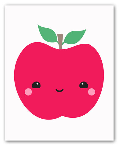Kawaii Apple Wall Art Print