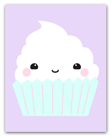 Kawaii Cupcake Wall Art Print