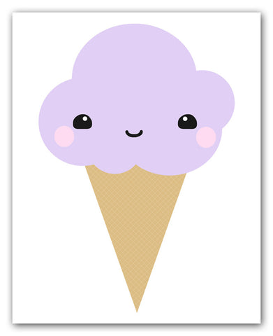 Kawaii Purple Ice Cream Cone Art Print