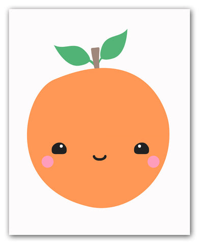 Kawaii Orange Wall Art Print