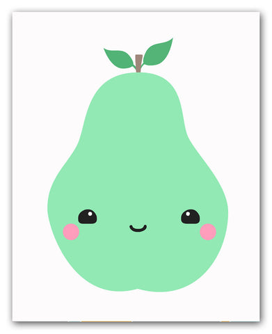 Kawaii Pear Wall Art Print