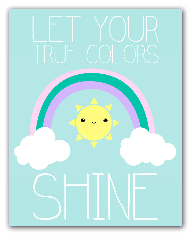 Kawaii Sun And Rainbow Wall Art Print