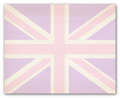 Union Jack Wall Art Print - Lavender And Pink