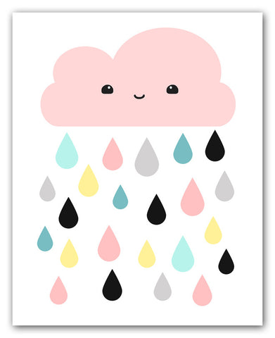 Kawaii Pink Cloud And Colorful Raindrops Print