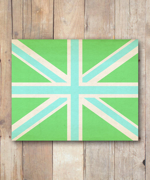Union Jack Wall Art Print - Lime And Aqua