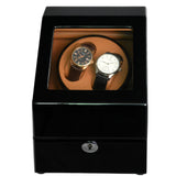Classic Dual Watch Winder (NO' S24)  Black Gloss Camel Interior