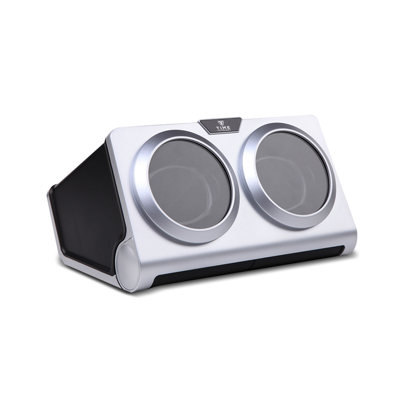 Black and Silver Horizontal Double Watch Winder