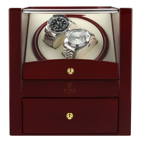 High Gloss Multil Function Red Wood Dual Watch Winder (No' 018)