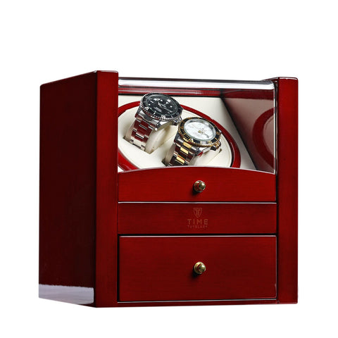 Wooden Case, High Gloss Finish, 4 TPD Programs, His & Hers Two Watch Stands, Includes Storage, (No' 018)