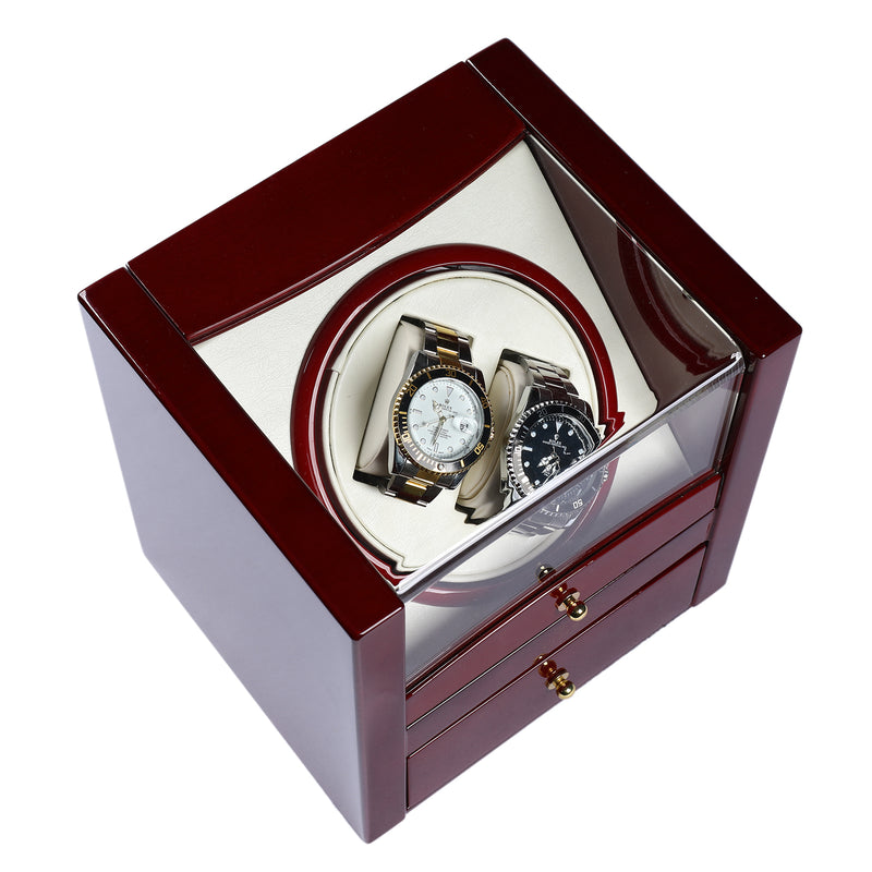 High Gloss Wood Case Dual Watch Winder with Storage Drawer