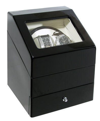 Special Offer - High Gloss Dual Automatic Watch Winder with Watch Drawer (No' 073)