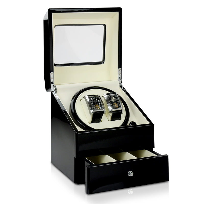 High Black Gloss Finish, Storage Feature, Dual Watch Winder
