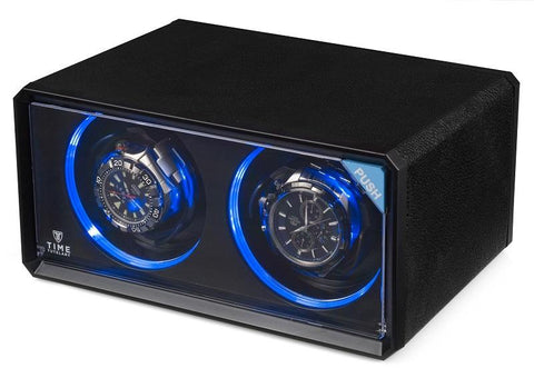 Black Case, LED Mood Light, Two Watch Winders, 4 Winding Programs, 1440-5760 TPD, (No' 076)