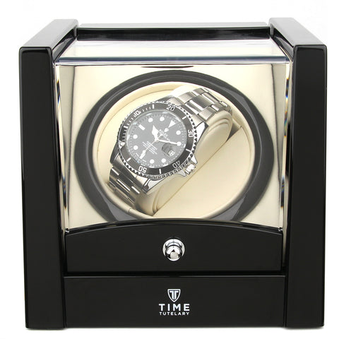 Single Watch Winder Piano Black High Gloss Finish (No' 079)