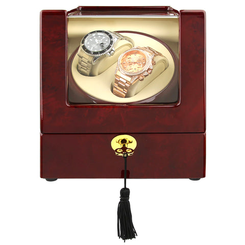 Wooden Case, Battery or Mains Powered, One Winder Winds Two Watches, 650-1000 TPD, Bi-directional Winding, Gloss Finish (No' 105)