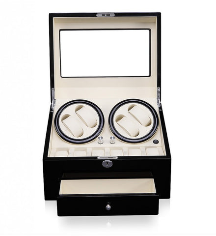 Black High Gloss Time Tutelary Quad Watch Winder (No' D66BW-A)