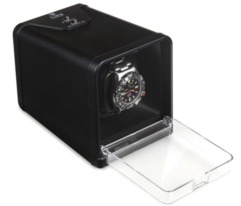 Compact Single Watch Winder, Spring Loaded Pillow+Extender, 650-1500 TPD, 4 Winding Programs (No' 112)