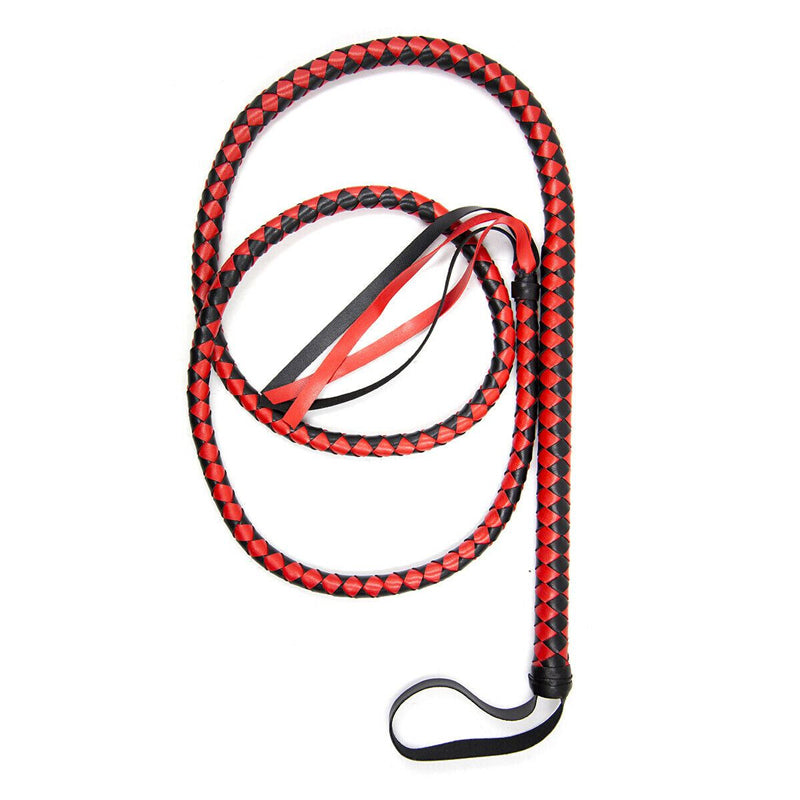 1.9m Extra Long Faux Leather Bondage Braided Whip - Black&Red