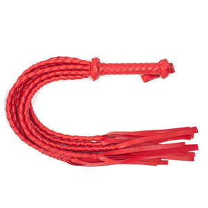 62cm Faux Leather Bondage Braided Tassel Flogger - Red