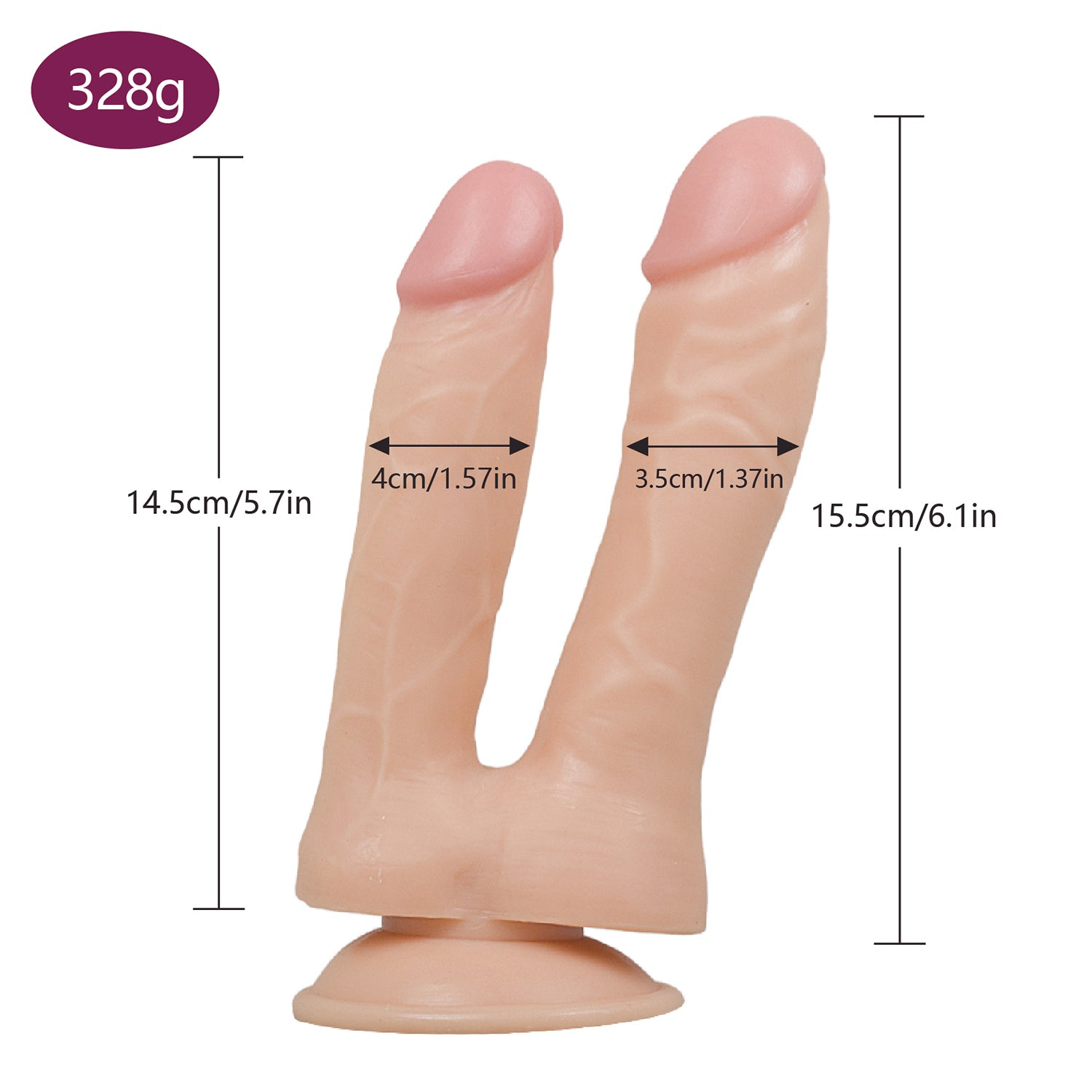 MD Fighter Realistic Double Ended Dildo - Nude