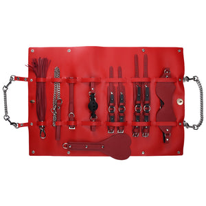 RY Premium PU Leather Bondage Set With Bag - 8 Pce BDSM Set  Red